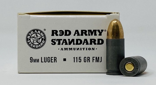 Century Red Army Standard 9mm Luger Ammunition 115 Grain Full Metal Jacket 50 Rounds