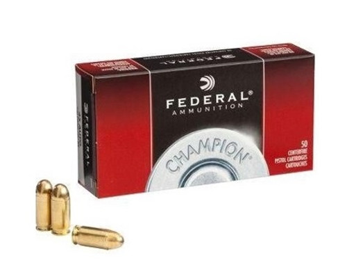 Federal 9mm Luger Ammunition WM5199 Champion Training  115 Grain Full Metal Jacket 50 Rounds