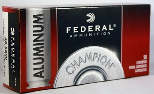 Federal 40 S&W Ammunition CAL40180 Champion Training 180 Grain Full Metal Jacket 50 Rounds