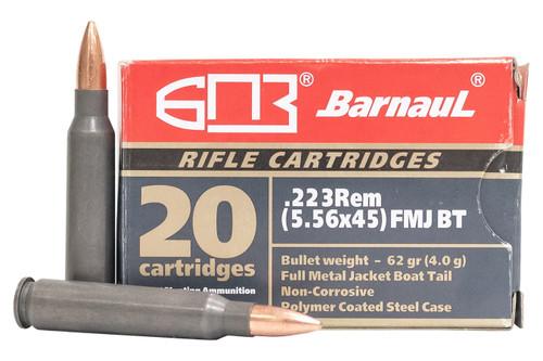 Barnaul 223 Remington Ammunition BARN223FMJ62 62 Grain Full Metal Jacket Steel Case CASE 500 Rounds