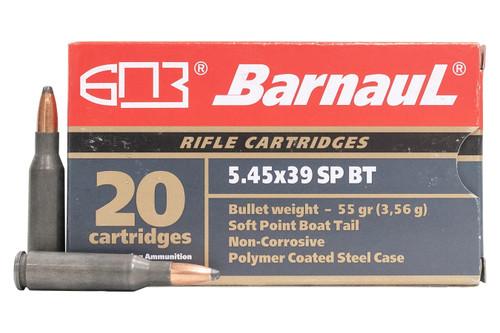Barnaul 5.45x39mm Ammunition BARN545X39SPBT55 55 Grain Boat Tail Soft Point Steel Case 20 Rounds