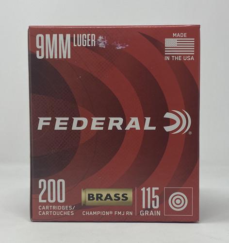 Federal 9mm Luger Ammunition WM51992 Champion Training  115 Grain Full Metal Jacket 200 Rounds
