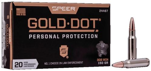 CCI 308 Win Ammunition Speer Gold Dot CCI24467 150 Grain Hollow Point 20 rounds