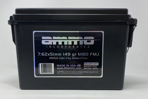 Ammo Inc 7.62x51mm M80 Ammunition AI762LCM80B250 149 Grain Full Metal Jacket CAN 250 Rounds