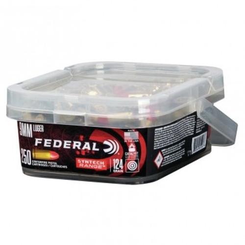 Federal 9mm American Eagle Syntech Ammunition AE9SJ2B250 124 Grain Synthetic Jacket Bucket 250 rounds