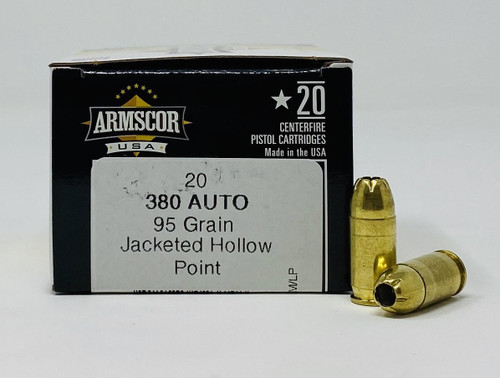 Armscor 380 Auto Ammunition FAC380-3N 95 Grain Jacketed Hollow Point 20 Rounds