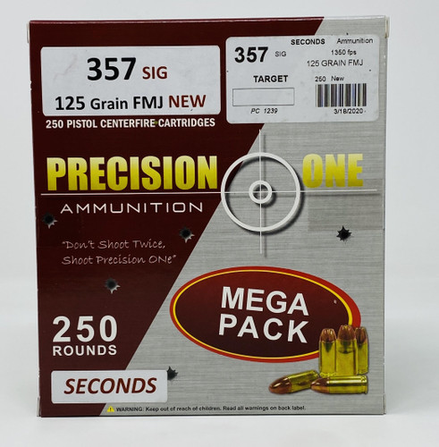 Precision One 357 Sig Ammunition **Seconds** PONE1239 125 Grain Full Metal Jacket 250 Rounds