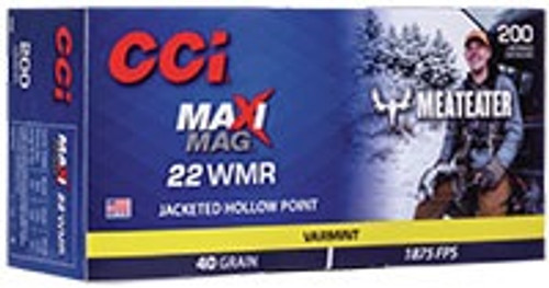 CCI 22 WMR Maxi-Mag Ammunition Meat Eater 40 Grain Jacketed Hollow Point 200 Rounds