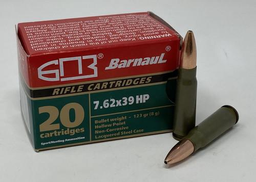 Barnaul 7.62x39 Steel Case Ammunition 123 Grain Hollow Point 20 Rounds