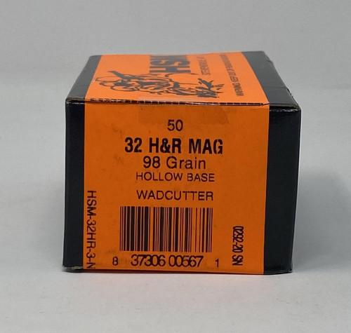 HSM 32 H&R Ammunition 98 Grain Hollow Base Wad Cutter 50 Rounds