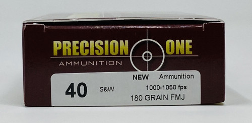 Precision One 40 S&W Ammunition PONE81 180 Grain Full Metal Jacket CASE 500 Rounds