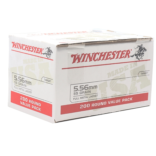 Winchester 5.56mm Ammunition USA556L2 55 Grain Full Metal Jacket 200 Rounds