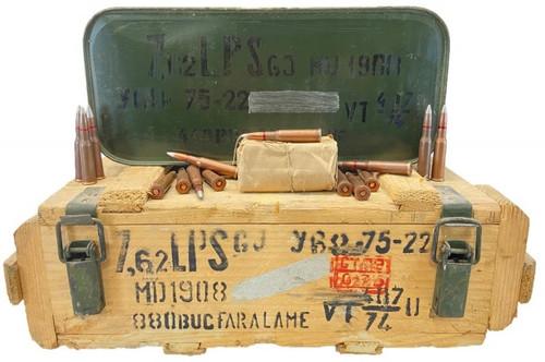 Romanian Surplus 7.62x54R Ammunition AM2216 148 Grain Penetrator Full Metal Jacket CRATE 880 Rounds