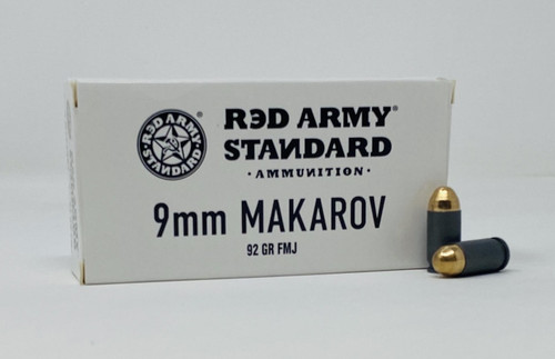Century Red Army Standard 9x18mm *MAKAROV* (NOT LUGER) Ammunition AM3264 92 Grain Full Metal Jacket 50 Rounds