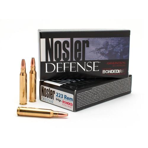 Nosler Defense 223 Rem Ammunition 39674 64 Grain Bonded Solid Base 20 Rounds