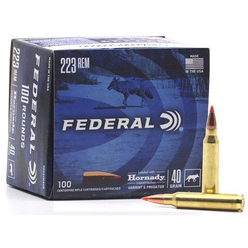 Federal 223 Rem Ammunition V223VM40B 40 Grain Hornady V-Max 100 Rounds