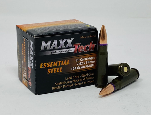 MaxxTech Essential Steel 7.62x39mm Ammunition MTES762 124 Grain Full Metal Jacket CASE 1000 Rounds