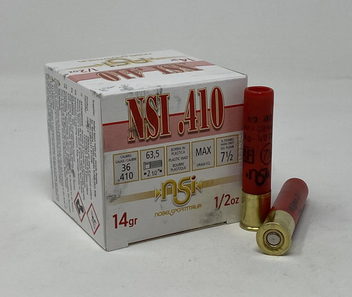 "Nobel Sport Italia 410 Bore Ammunition ANS41275CASE 2-1/2"" 1/2 oz 7-1/2 Shot CASE 250 Rounds"