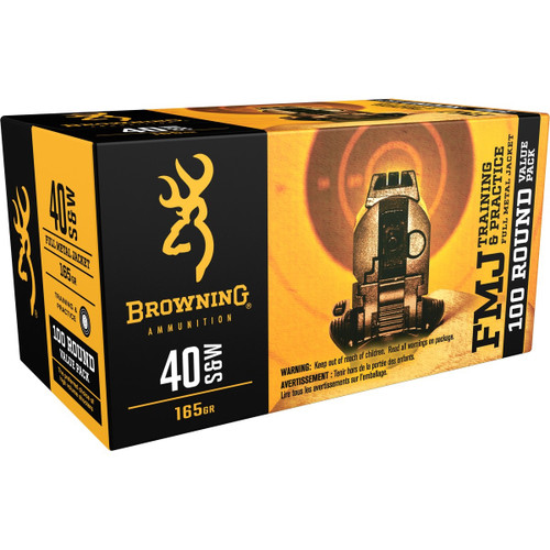 Browning 40 S&W Ammunition B191800404 165 Grain Full Metal Jacket 100 Rounds