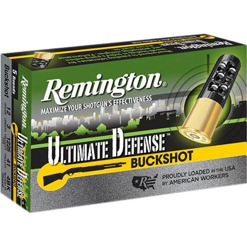"Remington 12 Gauge Ammunition Ultimate Defense 12HB4HD 3"" 4 Buck 41 Pellets 1225fps 5 Rounds"