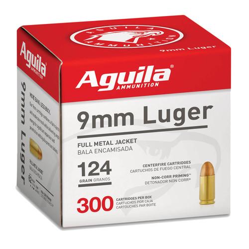 Aguila 9mm Luger Ammunition 1E092108 124 Grain Full Metal Jacket Bulk Pack 300 Rounds