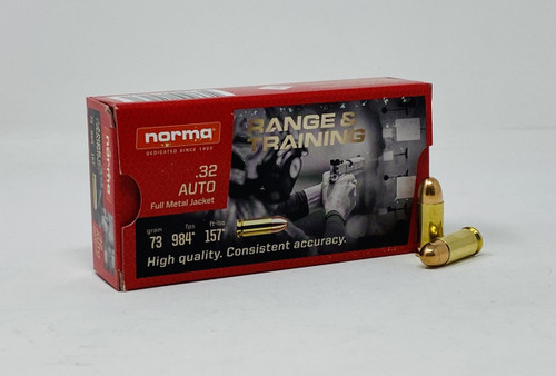 Norma 32 Auto Ammunition NORMA620040050 73 Grain Full Metal Jacket 50 Rounds