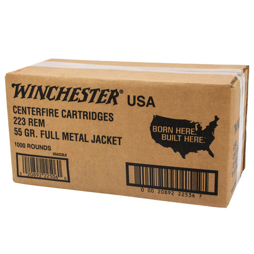 Winchester 223 Rem Ammunition USA223LKY 55 Grain Full Metal Jacket CASE 1000 Rounds