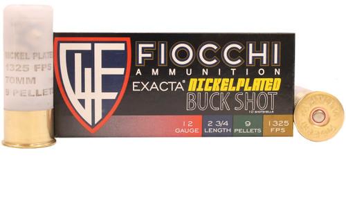 "Fiocchi Exacta 12 Gauge Ammunition FI12HV00BK 2-3/4"" 9 Pellets Buck Shot 10 Rounds"
