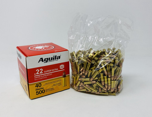 Aguila 22 Long Rifle Ammunition 1B221115 40 Grain Copper Plated Bullet Loose 500 Rounds