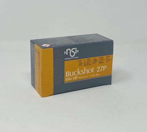 "Nobel Sport Italia 12 Gauge Ammunition ANS124BK10 2-3/4"" 4 Buck 27 Pellets 10 Rounds"