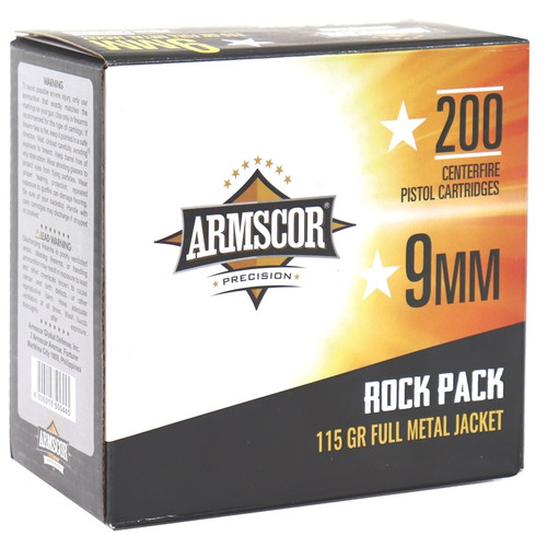 Armscor 9mm Luger Ammunition ARM50044 115 Grain Full Metal Jacket Rock Pack 200 Rounds