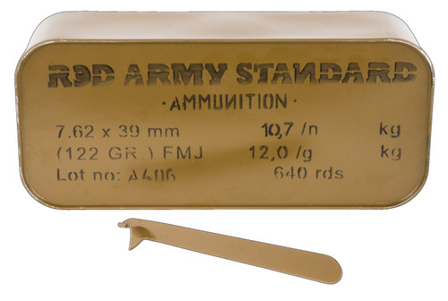 Century Red Army 7.62x39mm Ammunition AM3266 122 Grain Full Metal Jacket CAN 640 Rounds
