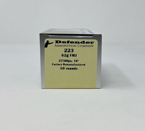 Defender 223 Rem *REMAN* Ammunition DEF22362 62 Grain Full Metal Jacket 50 Rounds