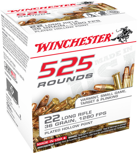 Winchester 22 Long Rifle Ammunition 22LR525HP 36 Grain Plated Hollow Point 525 Rounds