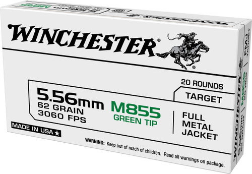Winchester 5.56x45mm NATO M855 Ammunition USA855K Full Metal Jacket Green Tip 20 Rounds
