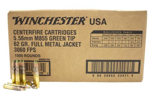 Winchester 5.56x45mm NATO M855 Ammunition WM8551000 62 Grain Full Metal Jacket Green Tip CASE 1000 Rounds