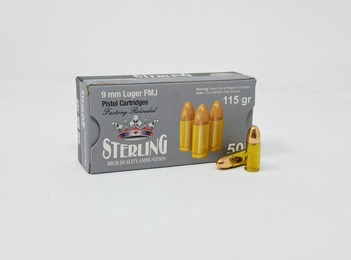 Sterling 9mm Luger *REMAN* Ammunition STRLG9MM115R 115 Grain Full Metal Jacket 50 Rounds
