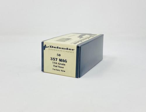 Defender 357 Magnum Ammunition DEF357158N 158 Grain Full Metal Jacket Flat Nose 50 Rounds