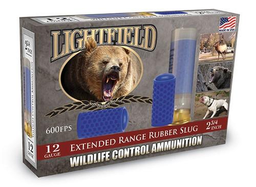 "LightField 12 Gauge Wildlife Control Ammunition LF12SLUG 2-3/4"" Extended Range Rubber Slug 5 Rounds"