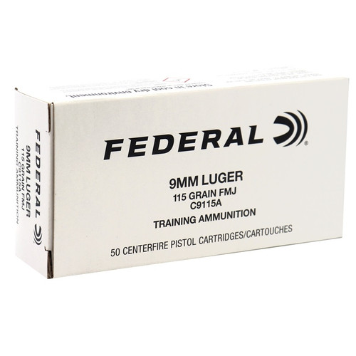 Federal 9mm Luger Training Ammunition FC9115A 115 Grain Full Metal Jacket 50 Rounds