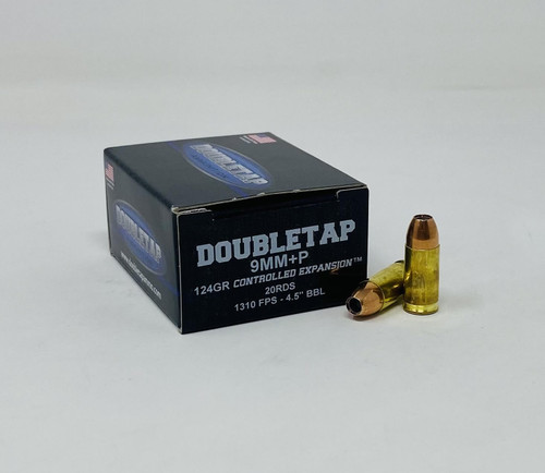 DoubleTap 9mm Luger +P Ammunition DTAP9MM124PJHP 124 Grain Controlled Expansion Jacketed Hollow Point 20 Rounds