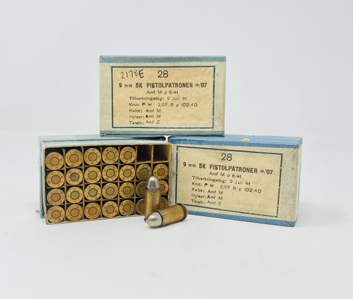 Swedish Surplus 9mm Browning Long Ammunition AM2178E M/07 Full Metal Jacket 28 Rounds