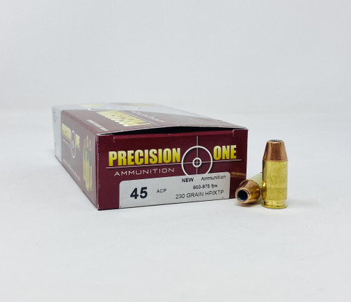 Precision One 45 ACP Ammunition PONE239 230 Grain XTP Hollow Point 50 Rounds