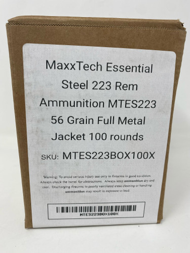MaxxTech Essential Steel 223 Rem Ammunition MTES223X 56 Grain Full Metal Jacket BOX 60 Rounds