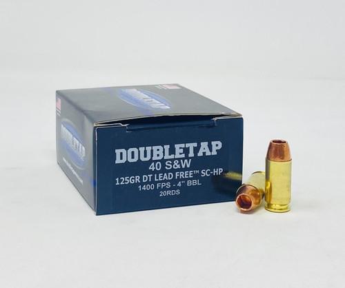 DoubleTap 40 S&W Ammunition DTAP40SW125LFSCHP 125 Grain DT Lead Free Solid Copper Hollow Point 20 Rounds