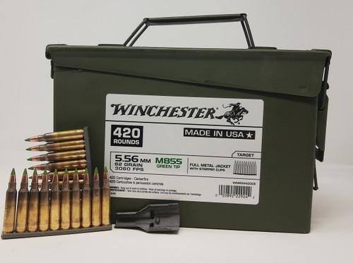 Winchester 5.56mm Ammunition WM855420CS M855  Green Tip 62 Grain Full Metal Jacket Stripper Clips CAN 420 Rounds