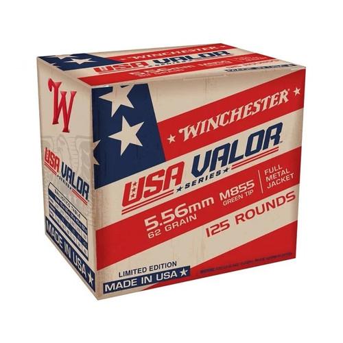 Winchester USA Valor Series 5.56x45mm M855 Ammunition USA855125 62 Grain Full Metal Jacket Green Tip 125 Rounds