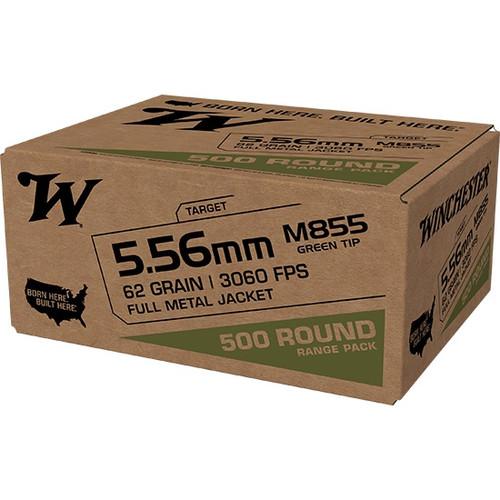 Winchester 5.56x45mm NATO M855 Ammunition WM855500 62 Grain Full Metal Jacket Green Tip 500 Rounds