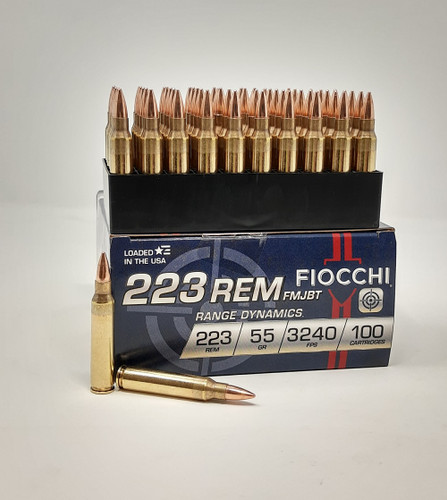Fiocchi 223 Rem Ammunition 223ARD10 55 Grain Full Metal Jacket Boat Tail 100 Rounds