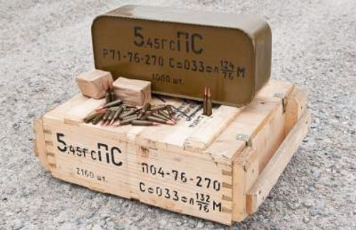 5.45x39 Ammunition 7N6 53 Grain Steel Core Full Metal Jacket Steel Case Banned from Further Importation Russian 2 spam can crate 2160 rounds